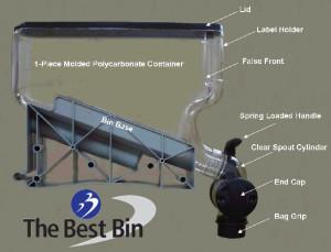 Blow molded plastic bin dispenser