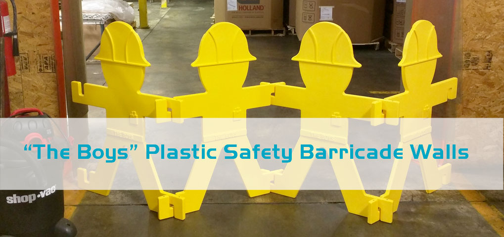 plastic safety barricades - the boys
